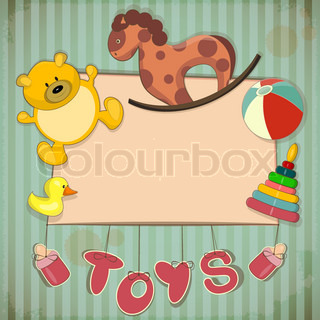 Vintage Design Toys Frame - Old Toys and place for text - Vector illustration
