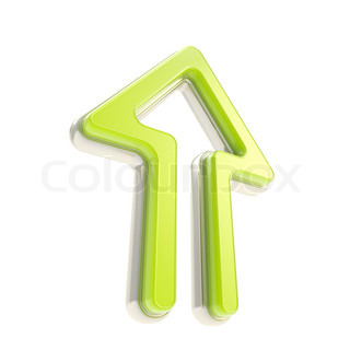Up green arrow icon with metal edging