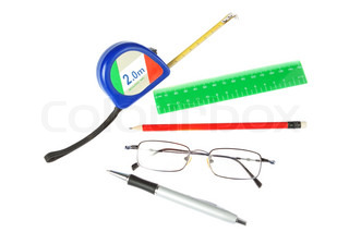 A set of tools of the architect, engineer and student On a white background