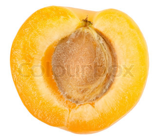 Apricot sectioned by knife isolated