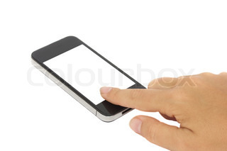 hand pointing at modern smartphone isolated on white background with copy space