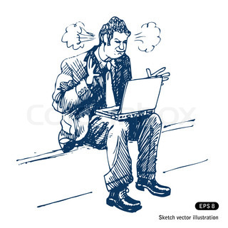 Stressed man sitting on step with laptop