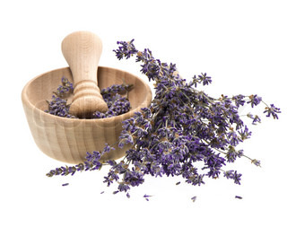 wooden mortar with dry lavender flowers