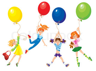 cute girls flying away on balloons.