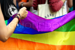 Rainbow flag at the LGBT pride parade in Barcelona, 30.06.12.