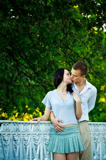 kissing couple in the park