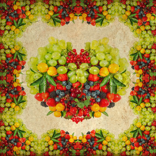 vintage background with fresh fruits and berries