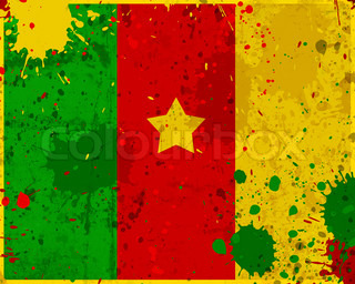 Grunge Cameroon flag with stains
