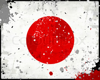 Grunge Japan flag with stains - flag series