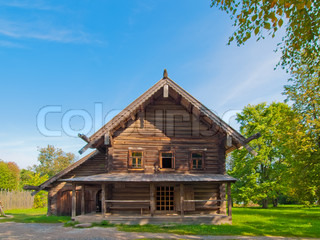 Traditional Russian wooden rural house