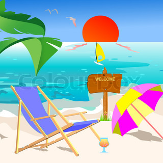 Summer beach scene - vector