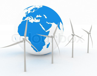 Wind turbines and earth, isolated on white background