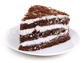 Chocolate Piece of cake Isolated on a white background