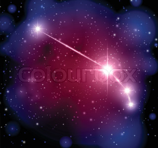 abstract space background with stars and Aries constellation