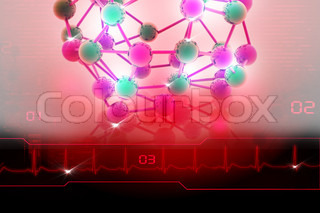 Digital illustration of molecules in abstract background