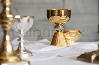 Chalices on a table before Mass