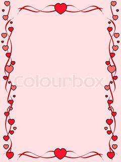 Pink background with ornament frame made of hearts