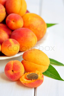 Fresh apricots and peaches