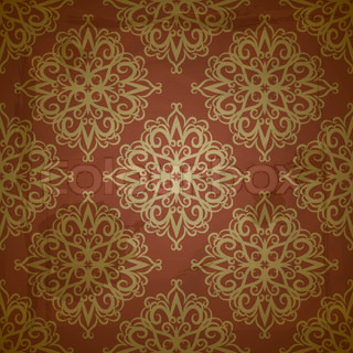 Vector seamless golden pattern on red grungy background ...