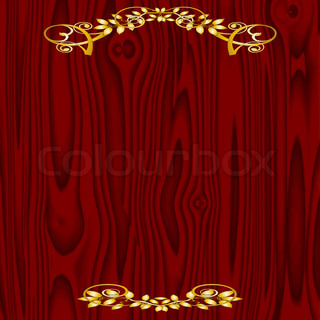 wooden texture background with golden vintage ornament - vector