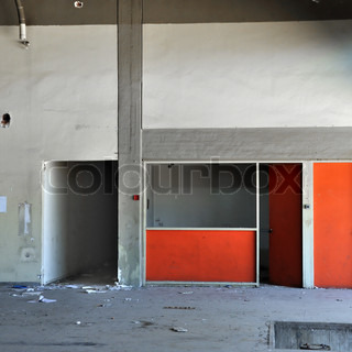 concrete wall and empty room in abandoned factory