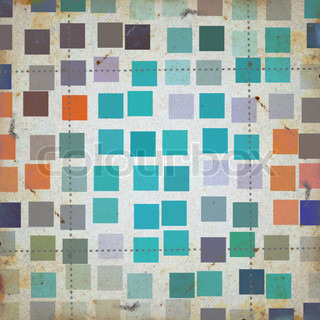 Grunge squares colorful abstract pattern on textured paper Background illustration