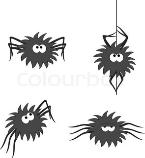 a cute shaggy spider in four different poses