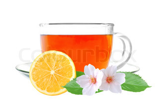Glass cup tea with lemon and jasmine flowers isolated on a white background