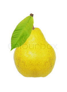 Beautiful fresh ripe yellow pear with green leaf isolated on white