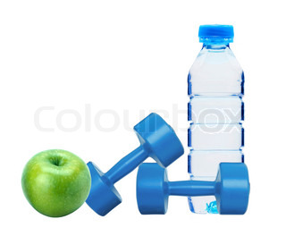 blue dumbbells fitness, green apple and bottle of water isolated on white