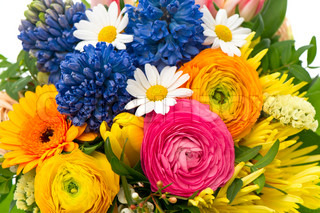 closeup of beautiful bouquet of colorful spring flowers