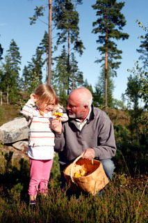 grandfather showing a fine chanterelle to his granddaughter