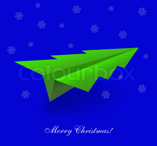 Vector concept of the Christmas tree and origami airplane Eps 10