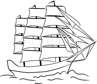 Sketch of nautical sailing vessel
