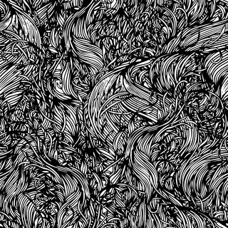 Vector seamless black and white abstract hand-drawn pattern with grass