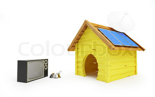 dog house with solar panels and antenna
