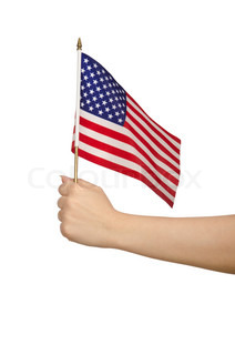 Hand Holding American Flag On White Stock Photo Colourbox