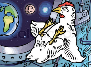 The lone brave chicken in a cabin of a space ship is looking at his home planet