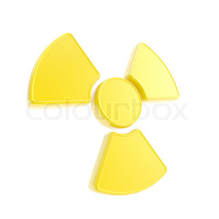 Nuclead radiation yellow glossy sign isolated