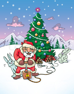 Santa Claus is going to explode the Christmas tree.