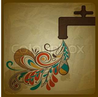 vector eco concept with a water tap and floral pattern flowing from it and symbolizing pure water