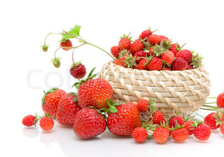 wild strawberries and strawberry close-up on a white background