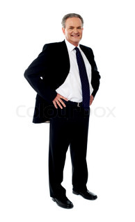 Senior businessman posing with hands on his waist