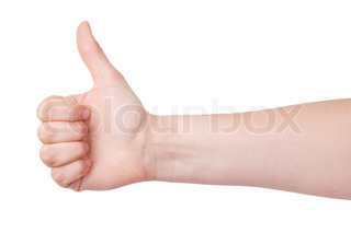 Human hand with a raised thumb