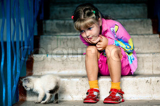 Nice girl with cat