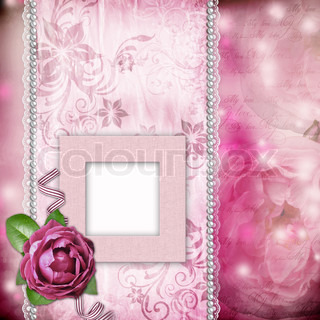 Album page - romantic background with frames, rose, lace, pearl, text