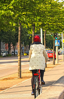 Biker on side road, in city center with trees inbetween