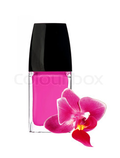pink nail polish and orchid flower isolated on white background