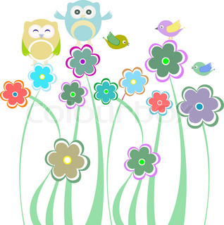 Cute kids background with flowers birds owls