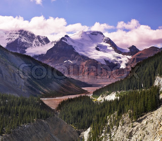 Majestic mountain landscape, glaciers and the snow slopes